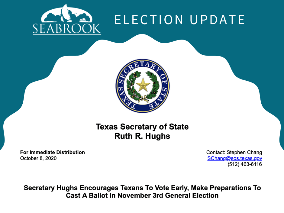 Texas Secretary of State Vote Early Press Release