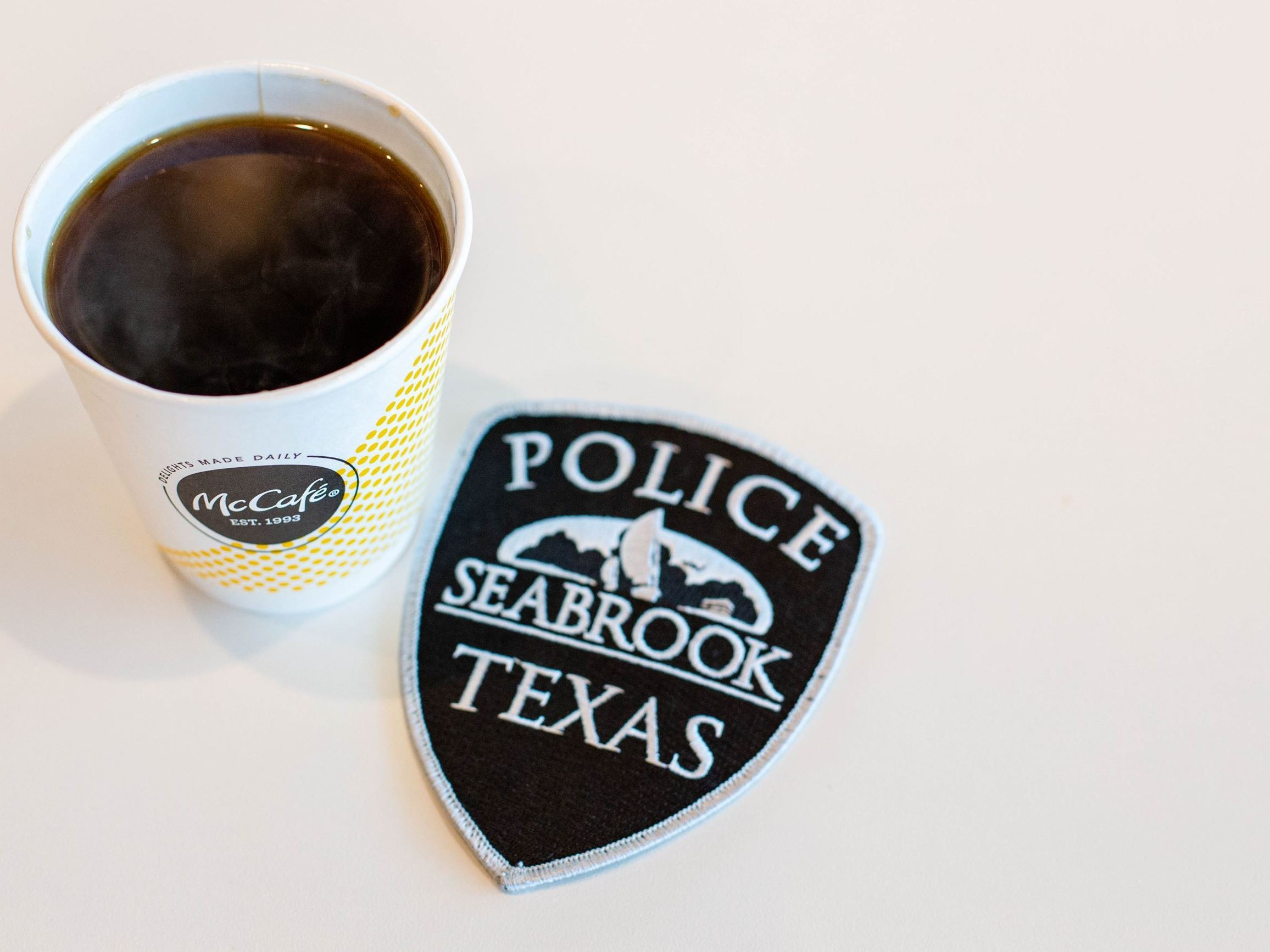 Coffee Cup with Police Patch