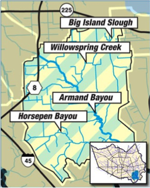 Benefits floodplain map Armand Bayou area
