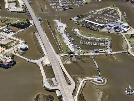 Satellite view of Seabrook-Kemah Bridge