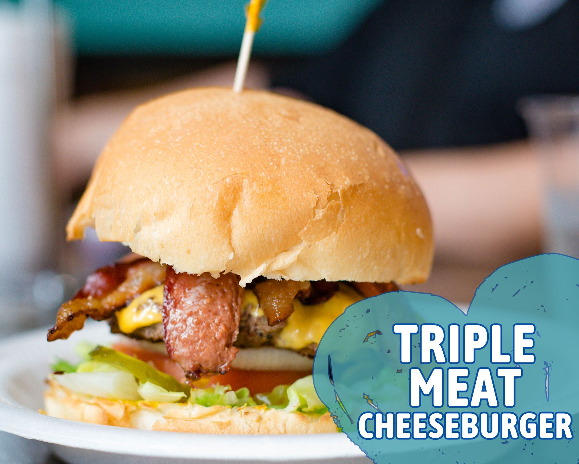 Hubcap Grill - Triple Meat Cheeseburger